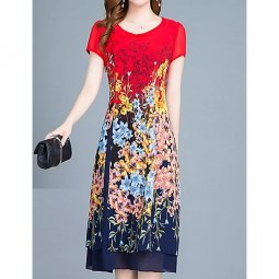 Women go out, delicate slim tight dress, printing,