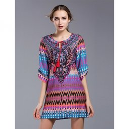 Women go out, retro beach, head chic shift dress, fringed mini geometry